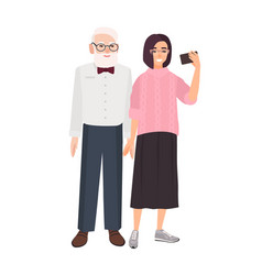 smiling grandfather and granddaughter standing vector image
