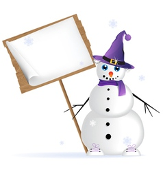 Snowman in lilac hat vector image
