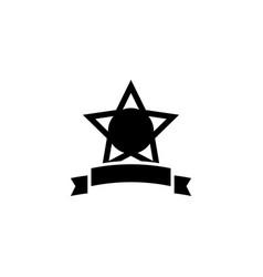 star award with ribbon flat icon vector image