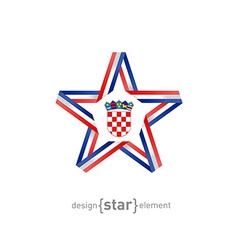 star with Croatia flag colors and symbols design vector image