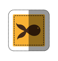 sticker yellow square with fish icon vector image
