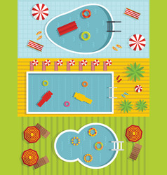 summer pool banner horizontal set flat style vector image