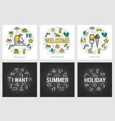 Summer round banners - trip and vacation vector