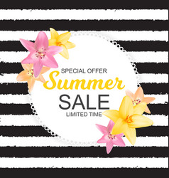 summer sale banner with lily flowers cute natural vector image