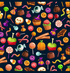 sweet halloween treats seamless pattern vector image