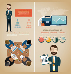 teamwork infographic set with business avatars vector image