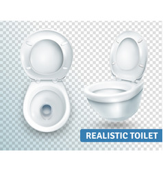 Toilet bowl realistic set vector