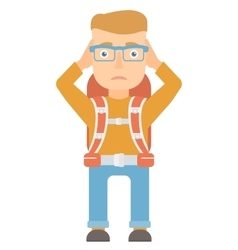 Travelling man clutching his head vector