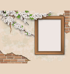 tree branches and frame on vintage background vector image