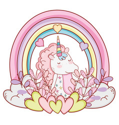 Unicorn fantasy drawing cartoon vector