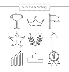 Victory and success Set of linear flat icons vector
