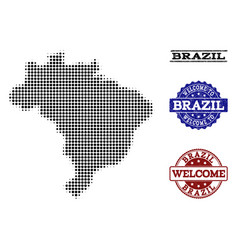 Welcome collage of halftone map of brazil and vector