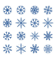 winter hand drawn set of blue snowflakes vector image