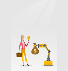Woman selling idea of engineering of robotic hand vector