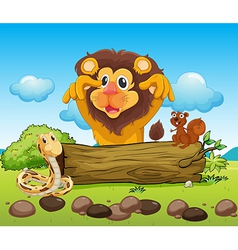 A scary lion a snake and a small squirrel vector image vector image