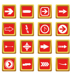 arrow icons set red vector image