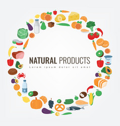 Food and drink fruits and vegetables healthy vector