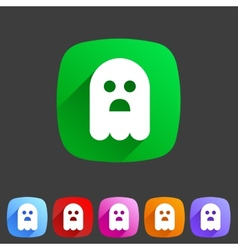 Halloween ghost flat icon badge vector image