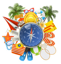 beach accessories with compass vector image vector image