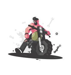 biker on motorcycle vector image vector image