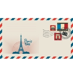envelope with with Eiffel tower vector image vector image