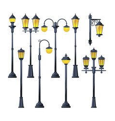 old city lamps in cartoon vector image