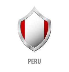 peru flag on metal shiny shield vector image