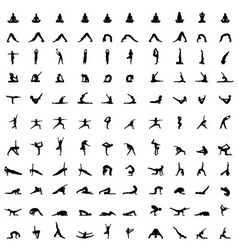 silhouettes of yoga vector image