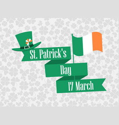 stpatrick s day ribbon with text and ireland vector image