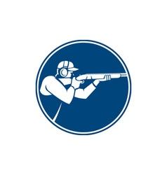 Trap shooting shotgun circle icon vector