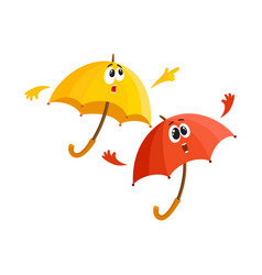 two umbrella characters - pointing to something vector image vector image