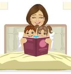 young mother reading tale story to her children vector image vector image