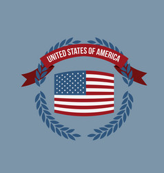Blue background of colorful flag united states of vector