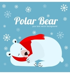 Cartoon Cute Polar Bear Animal Banner Card vector image
