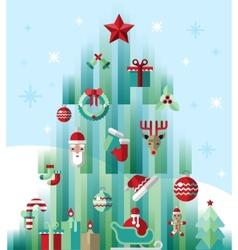 Christmas icons tree vector image vector image