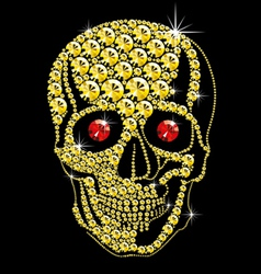 diamond gold skull with red eyes vector image