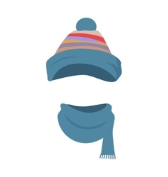 Hat Colourful Striped Headwear and Twisted Scarf vector image vector image