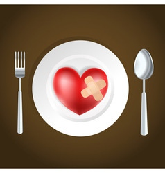 heart on a plate vector image vector image