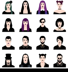 Set in a flat style avatars male and female goths vector image vector image