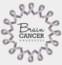 Brain cancer awareness ribbon design vector image