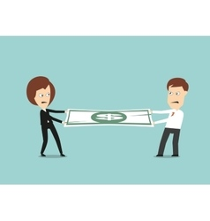 Businessman and business woman fights for money vector image vector image