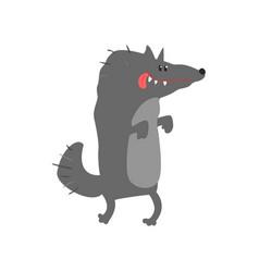 cute cartoon wolf happy birthday colorful vector image vector image