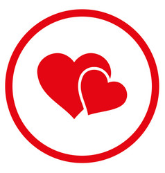 love hearts rounded icon vector image