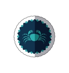 sticker stamp border with silhouette crayfish vector image
