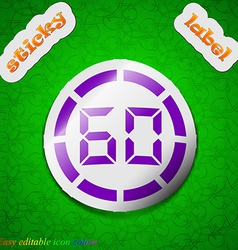 60 second stopwatch icon sign Symbol chic colored vector image
