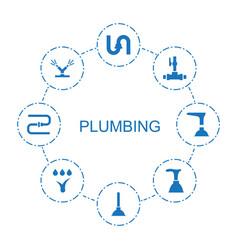 8 plumbing icons vector