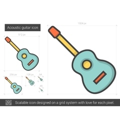 Acoustic guitar line icon vector image