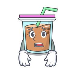 Afraid bubble tea mascot cartoon vector