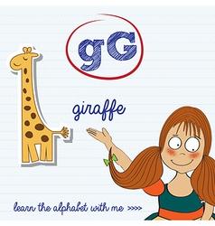 Alphabet worksheet letter g vector