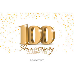 anniversary 100 red 3d numbers vector image